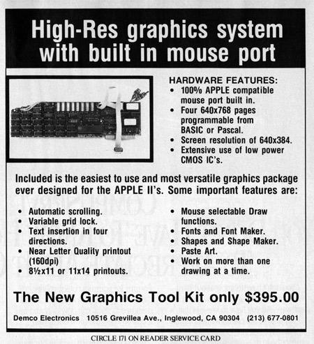 The Demco Graphics Tool Kit – An Apple II Video Board | Byte