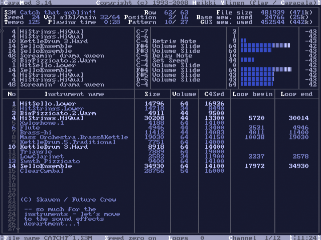 Screenshot of CapaMOD for DOS and the Gravis Ultrasound